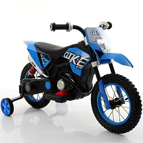 kid go Moto Elettrica per Bambini 6V Ruote Gonfiabili Blu