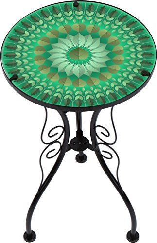 "Trademark Innovations 22"" Leaf Design Glass & Metal Side Table"