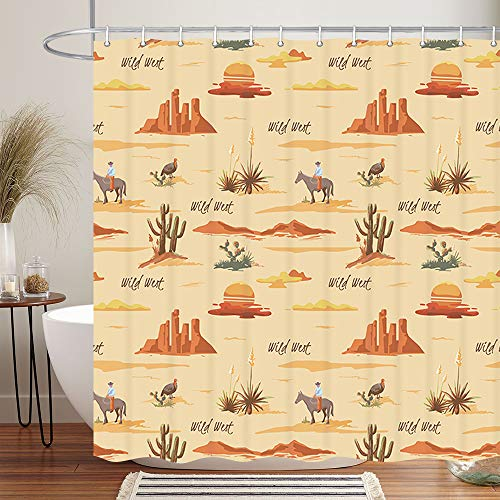 Vintage Desert Western Cowboy Shower Curtain, American Wild West Desert Cactus with Cowboys Riding Horse in Wild Farm Field, Fabric Country Farmhouse Shower Curtain for Bathroom 12PCS Hooks, 69X70IN