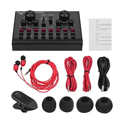 Multifunktionale Live-Streaming-Soundkarte USB Audio Interface Mixer Voice-Gerät DJ Karaoke-Ausrüstung mit einstellbarer Lautstärke 16 Effekte Unterstützung -Verbindung for die Aufnahme Hosting um Ihr
