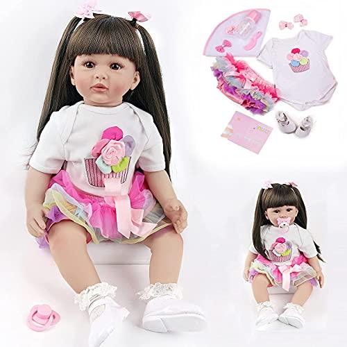 ZIYIUI Reborn Doll Mädchen 24 Zoll 60 cm Lebensechte Reborn Babypuppen Silikon Vinyl Reborn Baby Toddlers Puppe Günstig Spielzeug