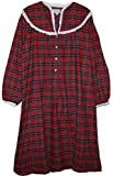 Lanz of Salzburg Women's Red Plaid Slit Neck 44 Inch Long 100% Cotton Flannel Nightgown (Large)