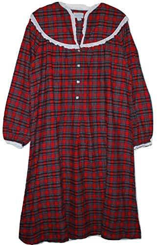 Lanz of Salzburg Women's Red Plaid Slit Neck 44 Inch Long 100% Cotton Flannel Nightgown (Medium)