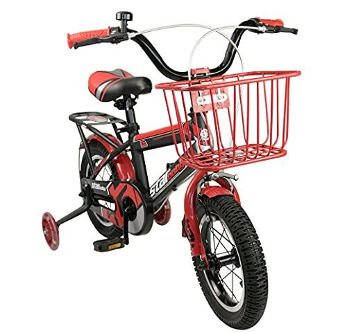 Airel Bicicletas Infantiles para Niños y Niñas   Bici con Ruedines y Cesta   Bicicletas 16 y 18 Pulgadas   Bicicletas niños 4-7 años   Color: Rojo-Rojo Pulgadas: 18