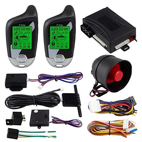 EASYGUARD EC202 2-Wege-Auto-Alarmanlage mit LCD-Pager-Display, Motorstart und Mikrowellensensensor, DC 12 V