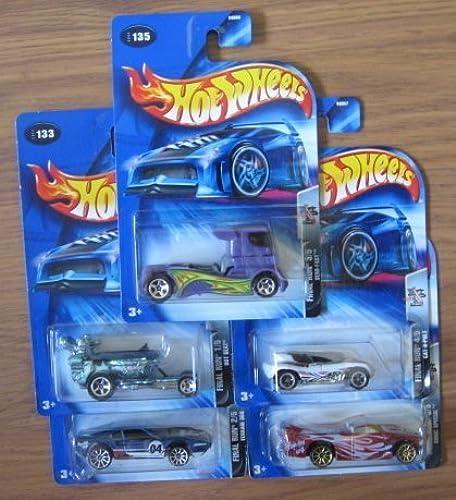 Hot Wheels 2004 Final Fun COMPLETE SET  Hot Seat, Ferrari 308, Semi-Fast, Cat-a-pult, Sonic Special by Mattel