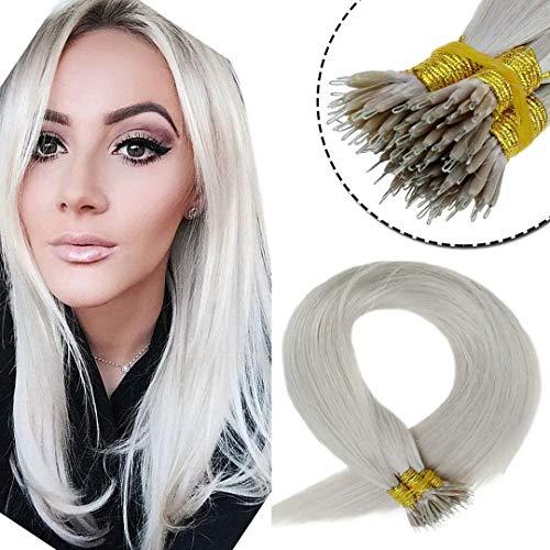 LaaVoo Nano Ring Tip Echtes Menschliches Haar Remy Human Hair Straight Nano Haar Ring Haarextension Echthaar Bondings Leichteste Blondine Platinblond 50Gramm/50Strähne 14 Zoll/35cm