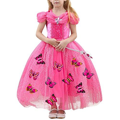 FYMNSI Cinderella Kostüm Kleid für Kinder Mädchen Märchen Aschenputtel Karneval Fasching Prinzessinnenkleid Tüll Maxikleid Halloween Weihnachten Geburtstagsfeier Cospaly Ballkleid Lang Rose 5 Jahre