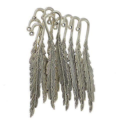 Segnalibri in argento tibetano vintage con piume, confezione da 10