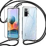 Vauki Funda con Cordón para Xiaomi Redmi Note 10 Pro 4G 6,67', Carcasa Glitter Transparente Suave Case con HD Protector Pantalla Antigolpes, Cristalino brillante Case con Ajustable Cuerda Collar,Negra