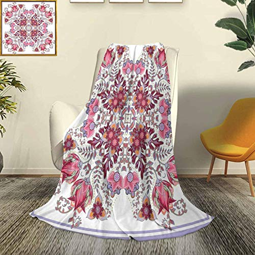 Batik Modern and Stylish All-Season Bedspread futon Vintage Colored Spring Inspired Blooming Floral Motif Oriental Lace Bridal Artwork Durable Travel Sofa Bed Sofa W80 x L60 Inch Pink Lilac