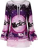 2019 Merry Christmas for Women's Plus Size Blouse Tunic Ladies Flare Sleeve Print Round Neck T-Shirt Loose Tops