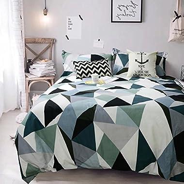 Tealp Geometric Triangle Pattern Duvet Cover Set, 3 Piece(1 duvet cover+2 pillow shams), Modern Style Printed Bedding Sets with Hidden Zipper,Queen Size,Green & White