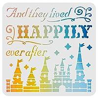 FINGERINSPIREこれから幸せに暮らす英語テンプレート 30x30cm再利用可能 描画絵画ガラスドア車体 木材 壁 テンプレートDIYデコレーション