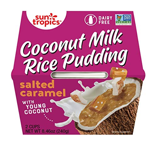 Sun Tropics Coconut Milk Rice Pudding Snack, Salted Caramel, 8.46 oz x 6 Pack (4.23 oz Cups, 12 Cups Total), Gluten Free, Dairy Free, Vegan, Low Sugar, Non-GMO, Ready-to-Eat