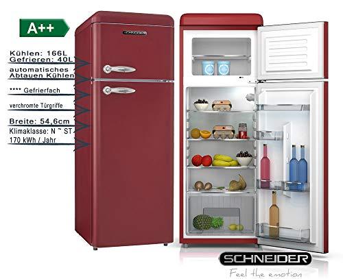Schneider Retro Kühl-Gefrierkombination 206Liter A++ 55cm Breit SDD 208 Kühlschrank automatisches Abtauen (Weinrot matt)