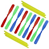 July miracle 10pcs Bamboo Dragonfly Hand Rub Plastic Propeller for Outdoor Toy Kids Gift Flying(Random Color)