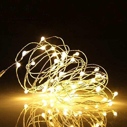 Ehome Fairy Lights, USB Operated Fairy Light Plug in 33ft 100 Led Waterproof String Lights Copper Wire Decorative String Light for Bedroom Indoor Christmas Wedding Party Patio Window