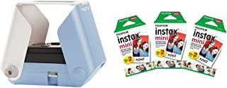 KiiPix Smartphone Picture Printer, Blue with Instax Mini Instant Film Value Pack - (3 Twin Packs, 60 Total Pictures)