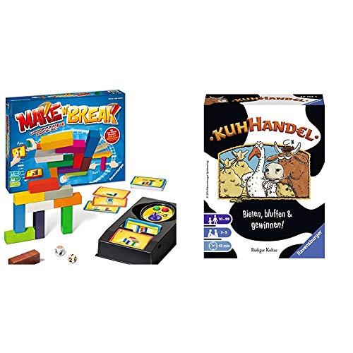 Ravensburger 26750 Make 'n' Break - Gesellschaftsspiel für die ganze Familie mit Bausteinen, Spiel für Erwachsene und Kinder ab 7 Jahren, für 2-5 Spieler & Kartenspiele 20753 - Kuhhandel