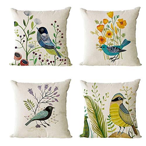 Nati 4 Piezas Fundas de Cojín Lino Cubierta Decorativa para Cojín Cuadrada Colorido Flores Pájaros Dibujos Funda de Almohada para Sofá Coche Cama Sillón Talla única