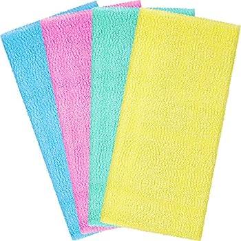 Boao 4 Pieces Beauty Skin Bath Wash Towel Exfoliating Bath Cloth Magic Shower Washcloth for Body 35 Inches Blue Pink Yellow Green