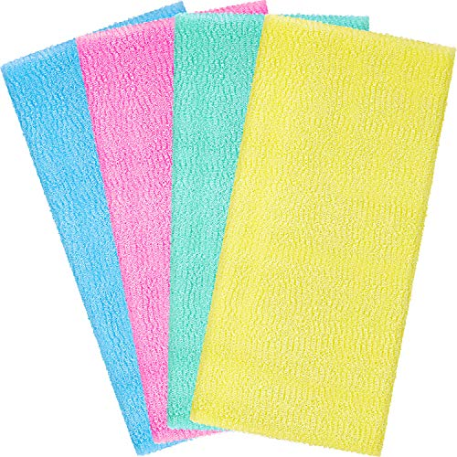 Boao 4 Pieces Beauty Skin Bath Wash Towel Exfoliating Bath Cloth Magic Shower Washcloth for Body 35 Inches (Blue, Pink, Yellow, Green)