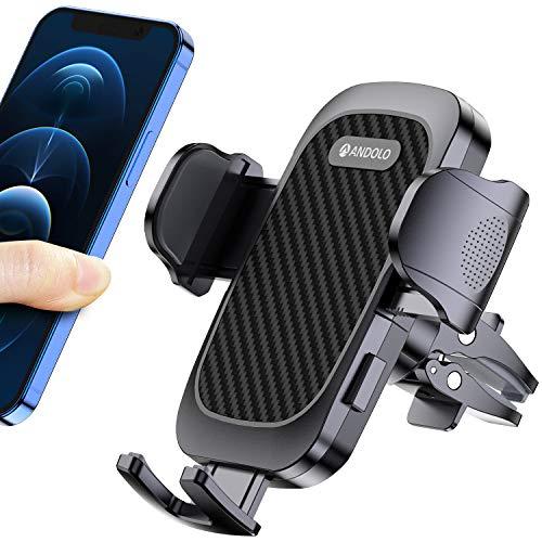 ANDOLO Soporte para teléfono móvil de coche, resistente con botón de liberación del funcionamiento unilateral, 1 abrazadera ajustable en altura y 1 abrazadera de tornillo para la sustitución