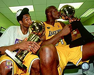 Kobe Bryant & Shaquille O'Neal Los Angeles Lakers 2000 Championship Trophy Action Photo (Size: 11