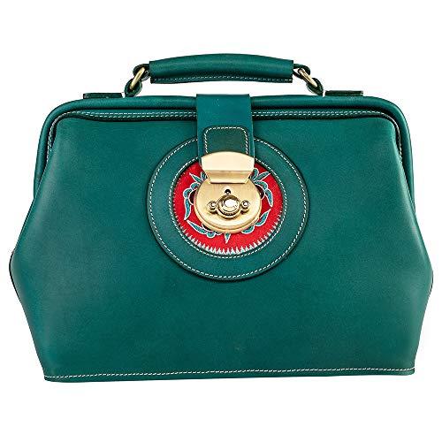 Menogga Embroidery Top-handle Leather Handbag Totes for Women Retro Green Doctor Style Designer Handbag (Light Green)