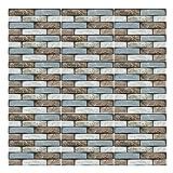 8 Hojas de Baldosas de Ladrillo Pelar y Pegar, 30 x 30cm Azulejos de Pared de Piedra Autoadhesivos, Paneles de Pared 3D de Ladrillo de Espuma, Vinilo Impermeable para Cocina Oficina Fondo (545)