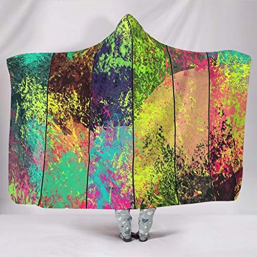 Fineiwillgo Colorida corbata colorida, manta con capucha, supersuave y cálida, cubierta con capucha para adolescentes, sofá o sillón de salón, color blanco, 130 x 150 cm