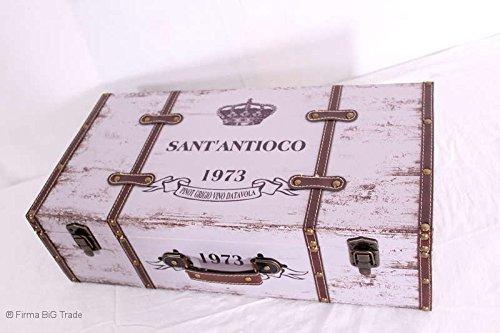 Firma BiG Trade Holzkoffer Oldtimer Koffer Kinderkoffer beschriftet/Größe M/Lederriemen/Nice Vintage Suitcase