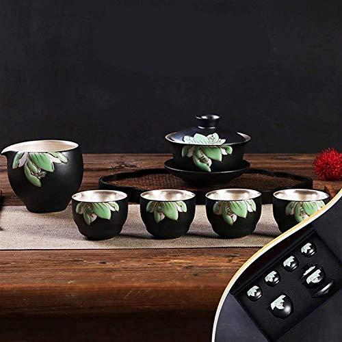 ZQADTU Juego de té de de Tetera de Plata Taza de Plata de Porcelana de construcción casera Tapa de Tetera de cerámica Tazón Juego de café Caja de Regalo (Color: Juego de 7 Piezas, Tamaño: Gratis)
