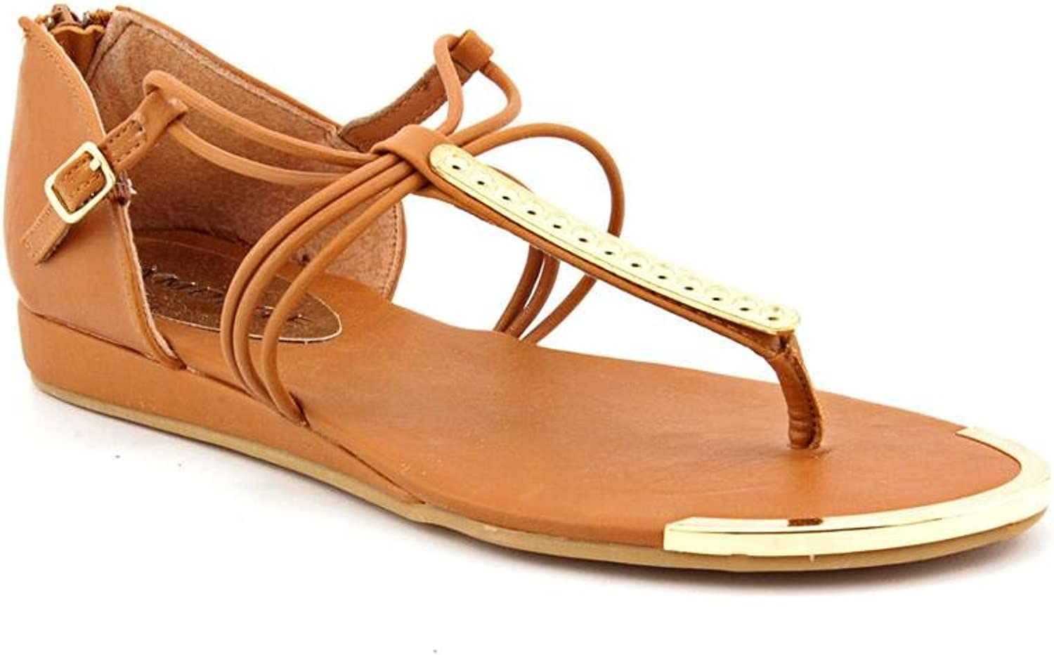 Rampage Saphire Womens 6.5 Brown Faux Leather Thongs Sandals shoes