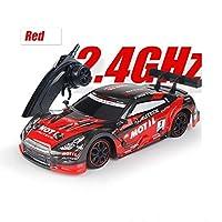 YDDKOK 40km / h 1:18スケールGTR RC車4WDドリフトレーシングカーチャンピオンシップ2.4Gオフロードラジオリモコン車両電子ホビートイズラジオスポーツホビーグレードライセンスモデルカー子供大人 (Color : Red, Size : Battery*3)