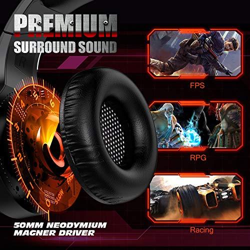 Cascos Gaming PS4,Cascos Gaming de Estéreo con Micrófono Cascos Gaming 3.5mm Jack con RGB LED Bass Surround y Cancelación de Ruido Auriculares Compatible con PC/Xbox One/PS5