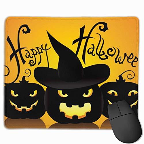 Schwarz Happy Happy Halloween Kürbis rutschfeste personalisierte Designs Gaming Mouse Pad schwarz Stoff Rechteck Mousepad Art Naturkautschuk Mausmatte mit genähten Kanten