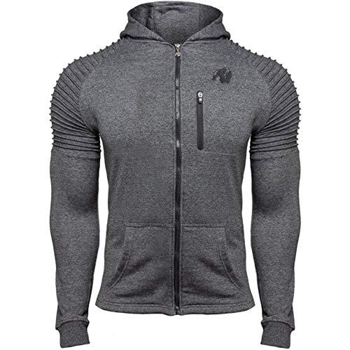 GORILLA WEAR Delta Hoodie - Bodybuilding und Fitness Jacke für Herren, grau, XL