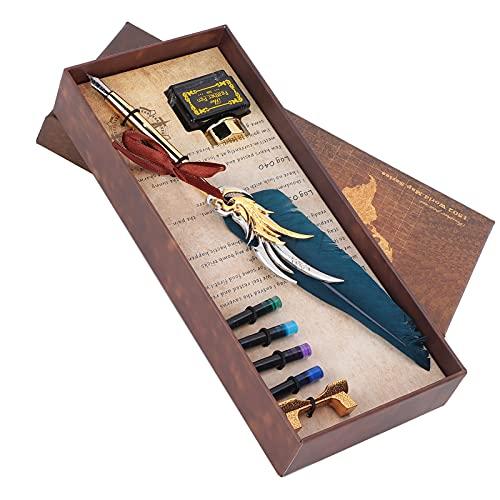 Dpofirs Juego de bolígrafos Antiguos, bolígrafo de inmersión, con 4 Bolsas de Tinta en el Paquete, Adecuado para Escribir Tarjetas de Regalo, Cartas(Azul Marino, Animales Polares)