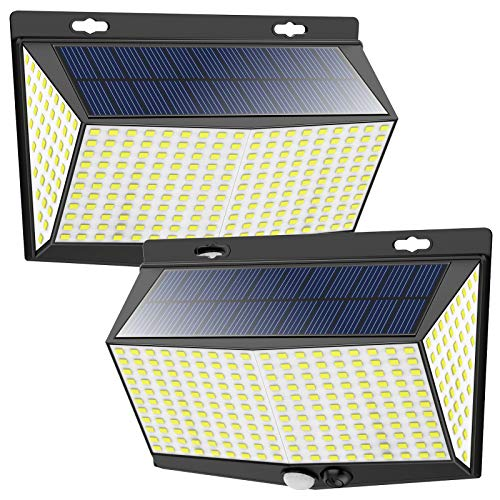 288 LED Solar Lights Outdoor Motion Sensor with 3 Lighting Modes, 270° Wide Angle Lighting, IP65 Waterproof. Wireless Security Solar Powered Flood Lights for Outside Fence Wall Yard(6500K, 2 Pack)