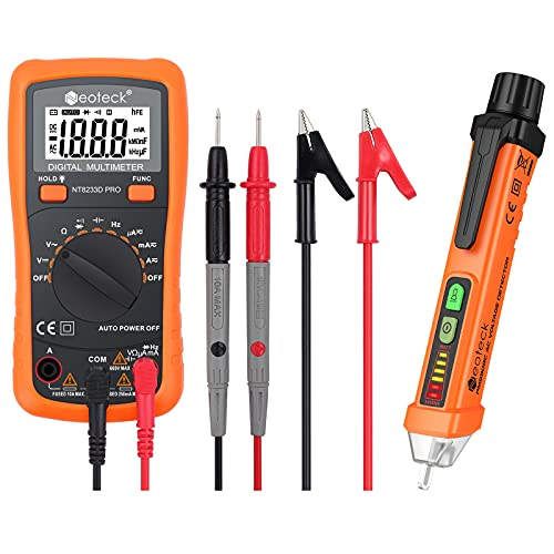 Neoteck Auto-Ranging Digital Multimeter and Non-Contact Voltage Tester Pen Set, Electrical Tester Kit with Test Probe Leads & Banana Plug to Alligator Clips
