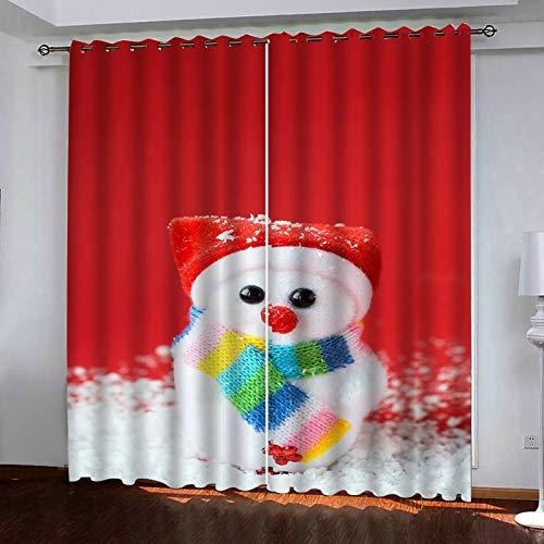 ANAZOZ 2 Cortinas Dormitorio Opaca Cortinas Poliester Habitacion Monigote de Nieve Rojo Blanco Cortinas de Dormitorio Tamaño 214x244CM