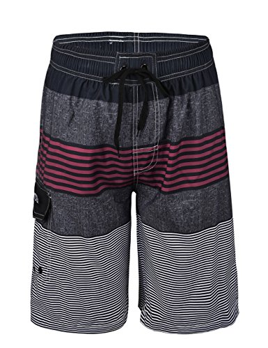 Nonwe Men's Swimwear Quick Dry Striped Board Shorts Striped Red 34