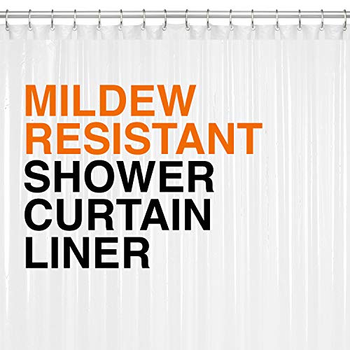 Mildew Resistant PEVA Shower Curtain Liner 72'x72' Clear 10G Thickness, Mildew Resistant and No Chemical Smell