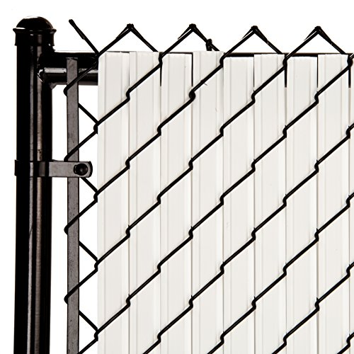 SoliTube Slat Privacy Inserts for Chain-Link Fence, Double-Wall Vertical Bottom-Locking Slats with Wings for 6' Fence Height (White)
