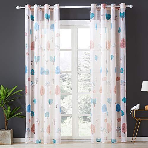 Topfinel Voile Vorhänge mit Ösen Baum Mustern Lange Gardine für Kinderzimmer Fenster Wohnzimmer 2er Set 215x140cm (HxB) Baum