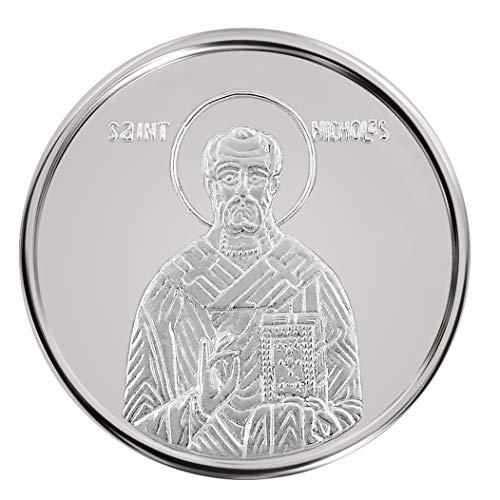 Conmemorativo Moneda Religiosa Medalla de plata San Nicolás 16 mm 3.0 g 1/10 oz