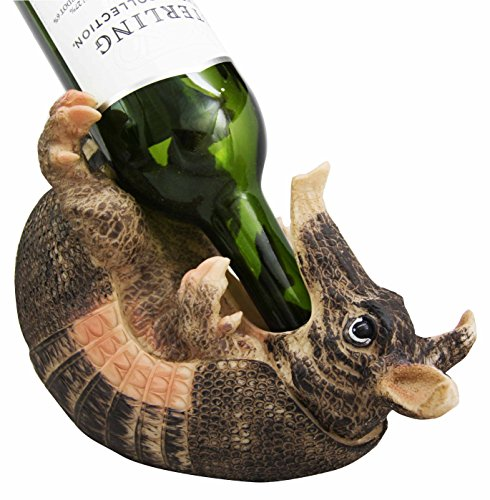 "in budget affordable Ebros Gift Coiled Drunk and Wild Armadillo Guzzler 9.5 ""Storage container for long wine bottle holders …"