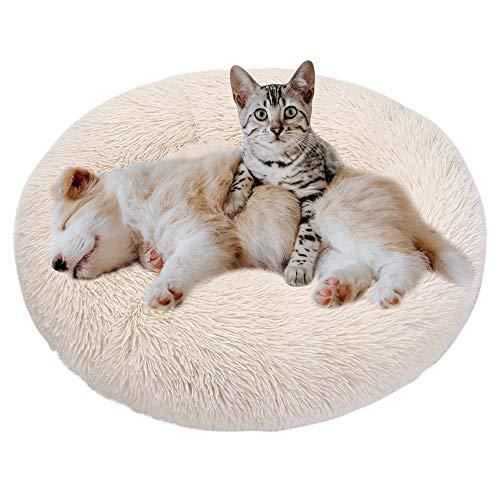 Eastlion Cama Perro Deluxe Felpa Redonda,Plush Cama Calmante Donut Gato Suave Cómoda,Nido Calentito Cojín Lavable para Mascotas Pequeña Gatos y Perros(Beige-Diámetro:80 CM)